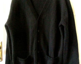 Men's Dunderdon Black Wool Cardigan Sweater, XL