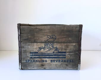 Vintage Wood Soda Crate Sparkling Beverages