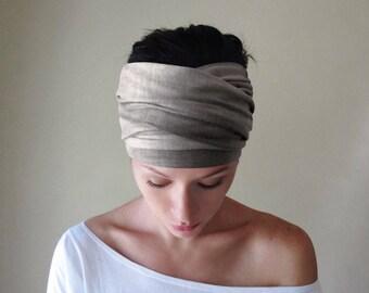 WEATHERED GRAY Head Scarf, Hand Dyed Gray Headband, Tie Dye Headband, Boho Headband, Extra Wide Head Scarf, Boho Head Scarf, Yoga Headband