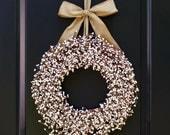 Cream Berry Wreath - Farmhouse Decor - Farmhouse Wreath- Choose Bow