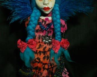 art doll, ooak, turquoise, cat