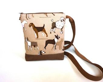 Dog lover crossbody bag, hip purse, beige, tan and brown cross body bag, adjustable sling purse, festival bag, walking bag, shoulder bag