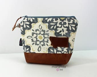 AVA Clutch Medium - MIst Medallion with Montana Patch with PU Leather READY to SHIp Cosmetic