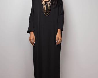 Black Dress, black mid length dress, lounge dress, oversized dress,  loose fitting black dress, plus size dress : Street Chic no 3