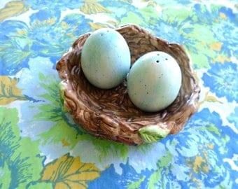 Blue Eggs In Nest Salt & Pepper Shakers / Simple Treasures Birds Nest / Papel Giftware / Robin Egg Blue Eggs / Collectible / Bird Decor
