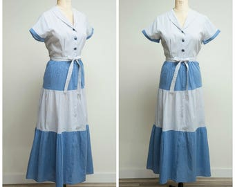 Vintage 1950s Dress • Lounge in Style • Blue and White Polka Dot Cotton 50s Hostess gown Size Large