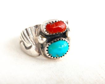 Turquoise and Red Coral Ring Size 7 .75 Vintage Sterling Silver Southwest Biker Ring Mens Womens Rocker Jewelry