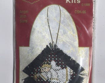 Angel with Stars Christmas Ornament Counted Cross-Stitch Kit