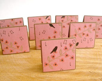 Pink Floral Mini Note Cards, Bird Gift Enclosure Cards, Tiny Greeting Cards, 8 Gift Notes, Cards, Petites Cartes, handmade cards