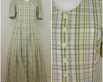 Bohemian VINTAGE Bavarian  DIRNDL Green Yellow Plaid Checkk Dress  Uk 14 Fr 42 Oktoberfest / Tyrol / Austrian / German/ Celtic