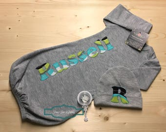 Personalized Baby Gown and Hat Set, Monogrammed Baby Gown, Baby Coming Home Outfit, Baby Shower Gift, Grey and Teal Baby, Russell, Grey Gown