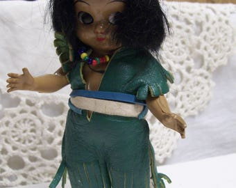 Vintage Doll, American Indian Doll, Native American Doll, Souvenir Doll, Indian Princess Doll, Leather Clothing, , Hard Plastic
