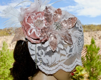 Rose Gold Veil, Diamond Clusters, Sparkly Bridal Headpiece with Pink lace birdcage veil