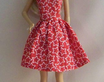 Handmade Barbie Doll Clothes-Red with White Stars Barbie Dress