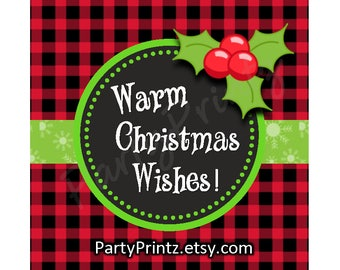 INSTANT DOWNLOAD - Printable - Warm Christmas Wishes -Buffalo Plaid - Chalkboard Cupcake Toppers & Favor Tags