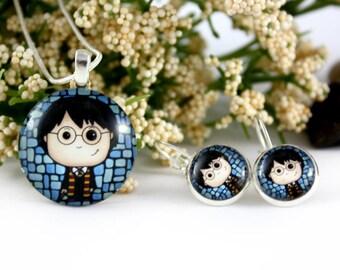 Harry Potter Jewelry Set - Hogwarts Necklace & Earrings - Harry Potter Fan Gift - Nerd Jewelry - Sci-fi Magic Necklace - Potter Fandom