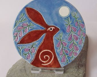 Ceramic Pottery Moongazing Hare and Heather Art Tile With Stand, Voice of the Moor, Pagan Pottery, Hare Rabbit Animal Totem, Hare Decor