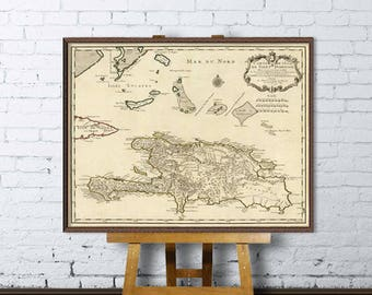 Map of Dominican Republic - Fine print - Restored maps archival reproductions
