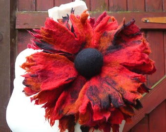 felted flower brooch, extra large, corsage, handmade, felted wool flower, lagenlook, handmade, shawl pin, red, black, rust, MADE TO ORDER
