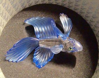 Swarovski Silver Crystal Siamese Blue Fighting Fish