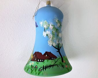 European Easter Bell Hand Made From Blown Glass Hand Painted With Butterflies / Caterpillars / Ranch House