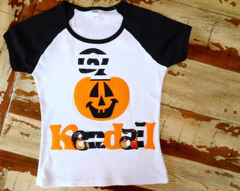 Halloween Pumpkin, Short or Long Sleeved Personalized Shirt, Size 6-12m to 12yrs