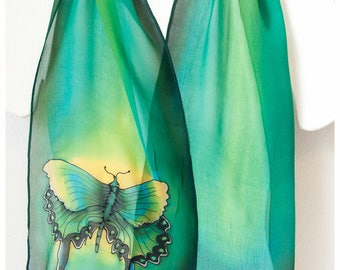 "Butterfly Silk Scarf ~ Silk scarf handpainted. 10x58"" Silk chiffon. Green silk scarf. Painted silk scarf. Hand painted silk scarves"