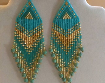 Native American Style Beaded Bright Turquoise and Gold Earrings Southwestern Hippie Boho, Gypsy, Brick Stitch, Peyote, Great Gift