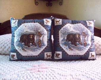 Throw Pillows Girzzly Brown  Mama Bear and Baby Cubs Blue Set of TWO 16 X 16 Living Room, Man Cave, Den, Bed Room, Made and Ready to Ship