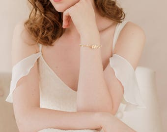 Gold leaf bracelet, Gold leaf cuff, Gold leaf wedding cuff