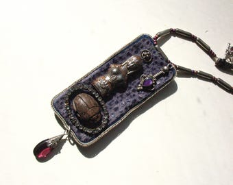 Goddess necklace amethyst  sterling scarab upcycled vintage jewelry assemblage amulet talisman wearable art