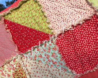King Size Quilt - Rag Style - Ready to Ship - King Quilt - King Bedding  Red Aqua Green Pink Gray Handmade Quilt Shabby Quilt