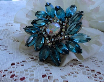 Rhinestone brooch with all crystal glass stones and Aurora Borealis stones elegant brooch