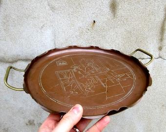 Antique Copper & Brass Drink Serving Tray - with Original Engraving - Gentlemen Drinking