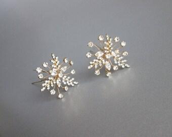 Gold crystal hair pins, Bridal crystal hair pins, Swarovski hair pins, Sparkly leaf hair pins, Bridal hair pins in gold, silver, rose gold