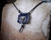 Bronze Metal Skull & Leather Pirate Skull Necklace