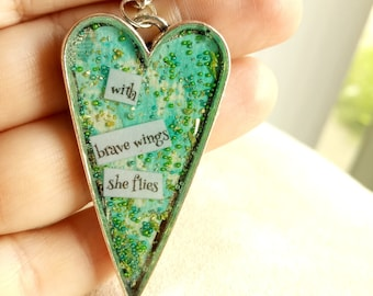 with brave wings she flies - Heart Art Pendant - Inspirational Message - FREE SHIPPING