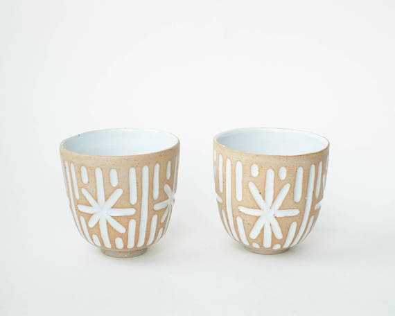 "set of 2 hand-carved ceramic cups / tumblers / mugs / raw clay with bright white glaze / star pattern // ""GROOVE"""