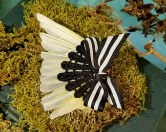 Yellow Taxidermy Bird Wing Hair Fascinator With Black Lace and Striped Bow