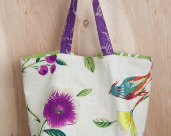 Happy Birds and Flowers Green Tote Bag- Lime Green Leaf lining- Linen and Cotton Tote- by beckyzimmdesign