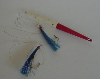 Lake Cabin Stream River Two Vintage Fishing Lures/Hooks & Old Red and White Bobber