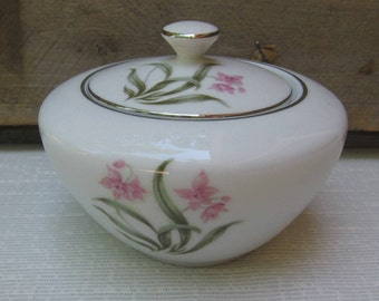 Vintage Pink Orchid Sugar Bowl, Sugar Bowl with Lid, White Pink Flowers Silver Trim, Made in Japan