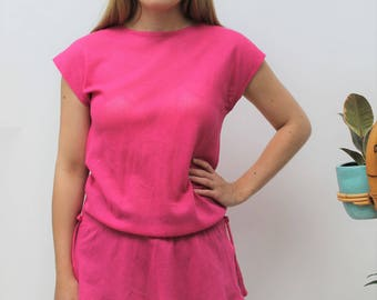 1980s Bright Pink Netted Drawstring Top Size UK 10/12, US 6/8, EU 38/40