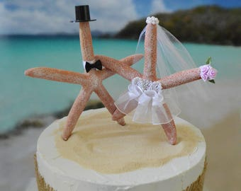Starfish-wedding-cake topper-ivory veil-white veil-beach wedding-destination wedding-nautical starfish bride and groom-beach topper-tropical
