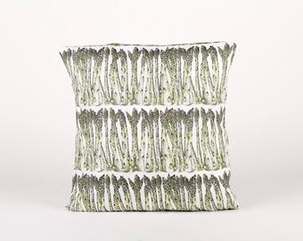 Handmade asparagus 40x40 pillowcase, vegetable print pillow