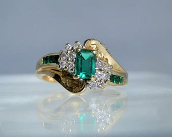 Vintage 10k Diamond and Lab Emerald Yellow Gold Ring. Size 7.5 DanPickedMinerals