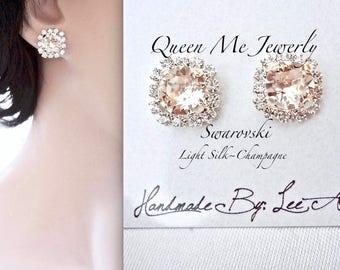 Champagne stud earrings,Swarovski silk earrings,Halo crystal earrings, Brides earrings, Wedding earrings, Bridesmaids earrings~ SOPHIA