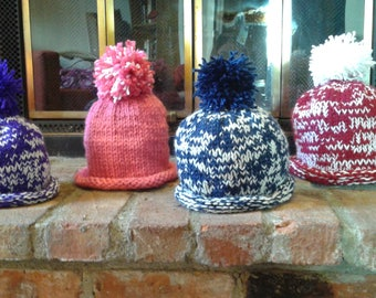Knit Hats with Pom Poms - Adult