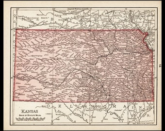 Small Kansas Map of Kansas State Map (1900s Wall Decor Print, Antique Atlas Wall Art, Old Color Map) Vintage Map No. 71-2