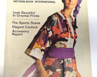 Vogue International patterns;Spring 1970; fashion gift/archive/inspiration/styling: Yves St Laurent, Patou, Pucci. Antonio illustrations